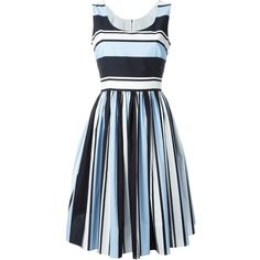 Dolce & Gabbana striped dress (27.560 CZK) ❤ liked on Polyvore featuring dresses, multicolour, zipper back dress, scoop neck sleeveless dress, colorful striped dress, pleated dress and multi colored dress