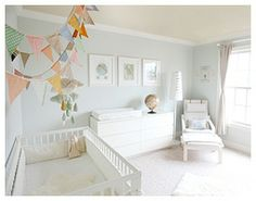 Such cute bunting over the bed.