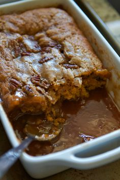 Pumpkin Pecan Cobbler....I couldn't do it...I just had to add 1 Tablespoon of cocoa to the dry ingredients.  YUMMY!!!   )