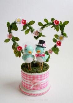 cheery bluebird wedding cake topper - custom colors