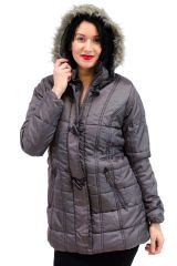 Puffer Toggle Jacket With Faux Fur Hood