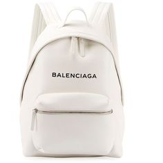 Balenciaga LogoPrint Leather Backpack (13.790 NOK) ❤ liked on Polyvore featuring bags, backpacks, black, leather knapsack, balenciaga, leather backpack bag, leather backpacks and day pack rucksack
