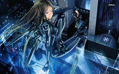 Futuristic assassin girl