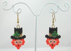 Beaded Leprechaun Earrings St Patricks Day Jewelry by LazyRose