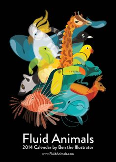 Fluid Animals 2014 Calendar by Ben O'Brien, via Behance