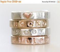 FLASH SALE Personalized Ring / Stacking Rings / Gift for Mom / Name Rings / Personalized Stacking Ring / Gift for Her / Mothers Jewelry / Mo by amywaltz #TrendingEtsy