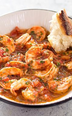 Shrimp Fra Diavolo. We boost the flavor of the sauce by first browning the shrimp shells and using them to make stock. This stock forms the basis of our sauce, in which we poach our shrimp, leaving them plump and succulent.