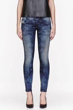 Diesel Blue Mottled Grupee-zip Jeans for women | SSENSE