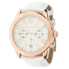 Michael Kors Ladies' Mercer Chronograph Watch in White and Rose Gold - Beyond the Rack