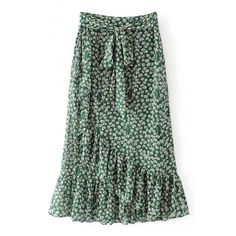 Summer's Floral Pattern Bow Tied Waist Chic Ruffle Hem Maxi Skirt (3075 RSD) ❤ liked on Polyvore featuring skirts, floor length skirt, long summer skirts, green maxi skirt, long floral skirts and floral print maxi skirt