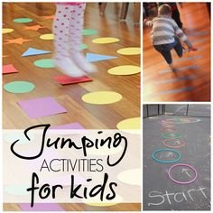 Jumping Activities for Kids Jumping Activities for Kids -- great for gross motor development!Jumping Activities for Kids -- great for gross motor development! Movement Activities, Indoor Activities, Sensory Activities, Learning Activities, Preschool Activities, Physical Activities For Kids, Learning Shapes, Toddler Gross Motor Activities, Proprioceptive Activities