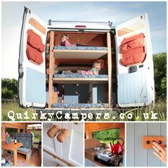 Agnes is the perfect camper for families with a double bed and three kids bunk. Her beautifully handcrafted interior is calm and harmonious while being fully functional. Hire her from Cornwall and take her on your own adventure. Www.quirkycampers.co.uk/Campervans/Agnes