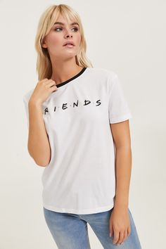 Shop this look @ buy 1 get 1 @ off 💖 Cotton short-sleeved t-shirt. Official licensed product of Friends. Model is wearing size S. Free Clothes, Cotton Shorts, Crew Neck, Short Sleeves, Cute Outfits, Tees, Model, T Shirt, Buy 1