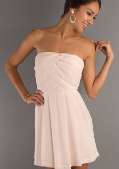 Chiffon Strapless Semi Formal Dress