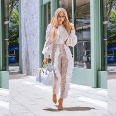 Material: Lace PolyesterModel wears size: Small Pleated Jumpsuit, Jumpsuit With Sleeves, White Jumpsuit, Rompers Women, Jumpsuits For Women, Fashion Jumpsuits, Costume Français, Long Jumpsuits, Playsuits