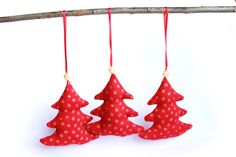 Christmas tree Ornaments Red and Gold Christmas trees by TildaArt