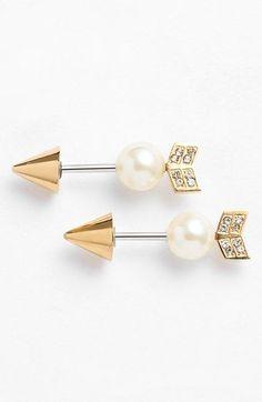 Women's Rebecca Minkoff Reversible Arrow Stud Earrings - Gold/ Pearl Gold/ Pearl One Size by: Rebecca Minkoff