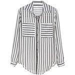 Black And White Vertical Striped Curved Hem Pocket Blouse