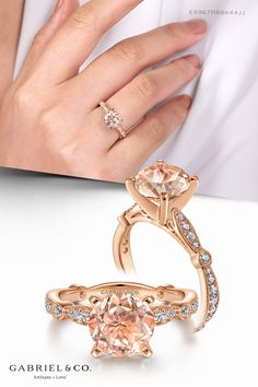 A round cut morganite center stone brings an enchanting peach pink shade to this vintage inspired 14k rose gold engagement ring. A four prong setting secures the stone atop a sculpted shank encrusted with 0.35ct pavé diamonds and finished with milgrain detailing.ER96711R8K44JJ.CSMO#GabrielNY#UniqueJewelry#FineJewelry#GabrielAndCo#RoundEngagementRing#MorganiteEngagementRing#RoseGoldMorganiteEngagementRings#RoseGoldEngagement#RoseGoldRing#VintageEngagement#VintageEngagementRing#VintageJewelry#14K Morganite Engagement, Diamond Engagement Rings, Rose Gold Jewelry, Fine Jewelry, Gabriel Jewelry, Pink And Gold, White Gold, Perfect Engagement Ring, Jewelry Branding