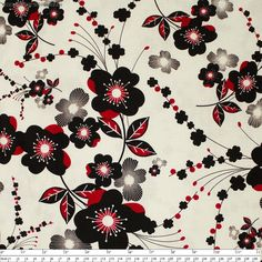"""Moon+Flower+Plum+Blossom+Cream+by+Benartex+-+Pricing+is+per+meter  Red+and+black+plum+blossoms+over+a+cream+background.+Part+of+the+Moon+Flower+Collection.    Main+Colour/s:+Cream  Basecloth:+100%+Cotton  Bolt+Width:+110cm+(43"""")  Weight:+Light+-+Quilting+and+Apparel+Weight  Vertical+Repeat:+59.5cm+(23-1/2"""")  Repeat+Type:++Basic+Tile…"""