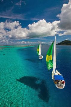 Waters so clear, it looks like the boats are floating on air ... Raiatea French Polynesia