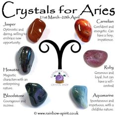 Rainbow Spirit crystal shop, Wadebridge Cornwall, crystal poster of birthstones for Aries