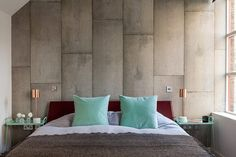 nice Industrial Style Bedroom Design: The Essential Guide Comfy Bedroom, Bedroom Bed, Bedroom Decor, Bedrooms, Concrete Bedroom, Concrete Walls, Concrete Finishes, Concrete Stone, Exposed Concrete