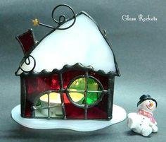 クリスマス「サンタハウス 」キャンドル ランプ ステンドグラス キャンドル・キャンドルホルダー G.R-mik ハンドメイド通販・販売のCreema