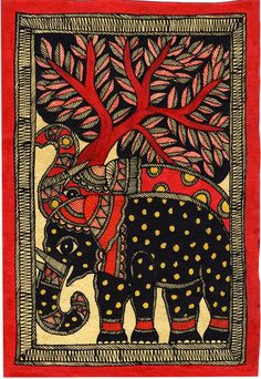 Madhubani Painting – Elephants in Color Subject: Madhubani Painting Paint Material: Opaque natural watercolors Base Material: Handmade Paper (u Madhubani Paintings Peacock, Kalamkari Painting, Madhubani Art, Indian Art Paintings, Abstract Paintings, Oil Paintings, Gond Painting, Mural Painting, Mural Art