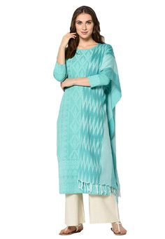 Buy Sea Green Cotton Kameez With Palazzo 207957 online at lowest price from huge collection of salwar kameez at Indianclothstore.com.