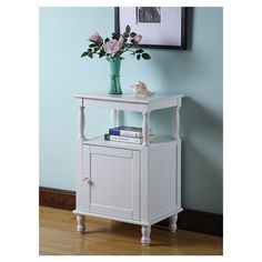 Adorable white side table night stand storage