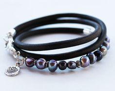 Pearl Leather Bracelet  artisan style by ChickpeaDesignStudio, $81.00