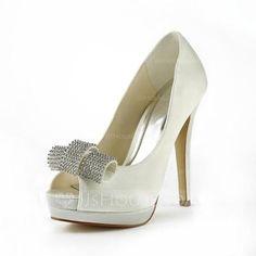 Women's Satin Stiletto Heel Peep Toe Platform Sandals With Rhinestone (047011836)