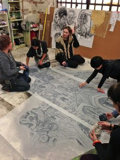 Printing party at Swoon's studio