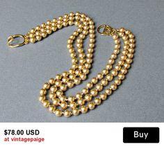Vintage Gold Glass Pearl Triple Strand Necklace Kenneth J Lane