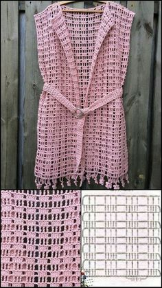 Pull Crochet, Gilet Crochet, Mode Crochet, Crochet Square Patterns, Crochet Coat, Crochet Cardigan Pattern, Crochet Shirt, Crochet Jacket, Crochet Diagram