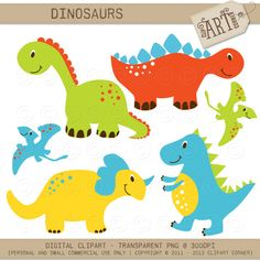 Digital Clipart  Dinosaurs DC9341 by ClipArtCorner on Etsy, $3.50