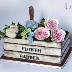 Torty od Lorny (Cakes by Lorna) Fancy Cakes, Cute Cakes, Mini Cakes, Fondant Cakes, Cupcake Cakes, Flower Pot Cake, Garden Cakes, Garden Theme Cake, Garden Birthday Cake