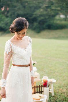 Wedding gown by Caramel  Co. Dreamy and Rustic Wedding Picnic Inspiration. #singapore #singaporewedding