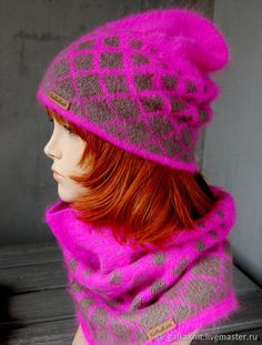 """Купить Ангоровый комплект """"Розовый неон"""" - розовый, ярко - розовая шапка, ярко - розовый комплект"""