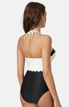 Free shipping and returns on Topshop Scalloped One Piece Swimsuit at Nordstrom.com. A one-piece halter swimsuit inspired by vintage beachwear features a scalloped sweetheart neckline and monochrome color blocking.