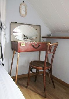 his vintage suitcases - - Vintage Suitcase Table, Suitcase Decor, Vintage Suitcases, Handmade Furniture, Repurposed Furniture, Rustic Furniture, Diy Furniture, Handmade Home, Cheap Home Decor
