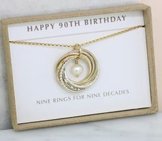 90th Birthday Gift June Birthstone Necklace Pearl For Grandmother Mom