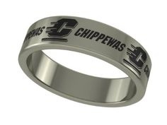 Central Michigan Chippewas Stainless Steel 6mm Wide Ring Band (8). Officially Licensed Central Michigan Chippewas Stainless Steel Ring Band. Available in Sizes 6 through 13 in Half Sizes. Precision Laser Engraving - High Quality Stainless Steel. Band Measures 6mm Wide - Satin Finish Top. Wear Everyday Without Fear of Damage.
