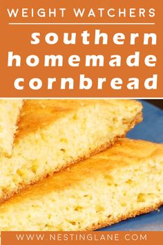 Weight Watchers Homemade Cornbread Recipe. A lighter version of the Southern classic! This quick and easy cornbread is ready in 30 minutes. Low calorie, low fat, gluten free, and low sugar! MyWW Points: 3 Green Plan (Smart Points) Low Fat Cornbread Recipe, Healthy Cornbread, Cornbread Cake, Homemade Cornbread, Weight Watchers Bread Recipe, Weight Watchers Vegetarian, Weight Watchers Free, Weight Watchers Desserts, Low Calorie Bread
