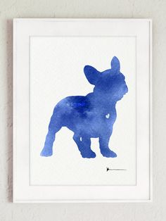 Blue French Bulldog Sign Dog Watercolor Painting by Silhouetown