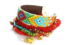 Native American Beadwork Inspire,Bohemian Indian Aztec Boho Chic Gypsy Hippie Style Multiple Strands Turtle Friendship Bracelet Set Of 6. $35,00, via Etsy.