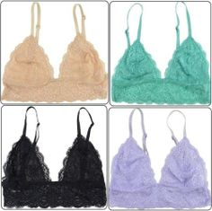 d84e5b71f2 Details about Floral Lace Lined Bralette Bra Unpadded Triangle Mesh Top  Hook Closure US SELLER