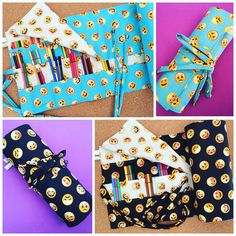 Estojos de rolo para até 180 canetinhas ou 225 lápis de cor, estampa emojis! #encomendapronta #estojosderolo #colorir #estojos #emojis #emoji #carinhas #smiles #emoticons # # # #