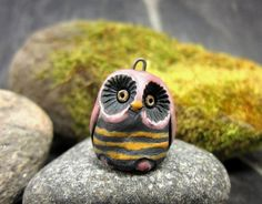 Pink OwlSaggar Fired Rustic Pendant by elukka on Etsy, €11.00